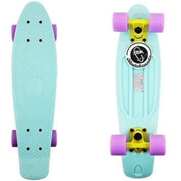 "22"" Pastel Blue Fish Skateboard Retro Yellow Truck Purple Wheel"