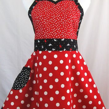 Scotty Dog Sweetheart Apron in Red Black Polka Dot Cotton, Puppy Applique, Handmade in USA, Valentine Gift
