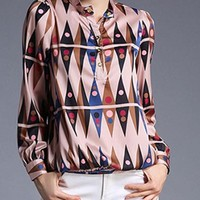 Spring Autumn Winter Geometric Printing Women Long Sleeved Dot Stand Collar Casual Work Office Party Top Blouse