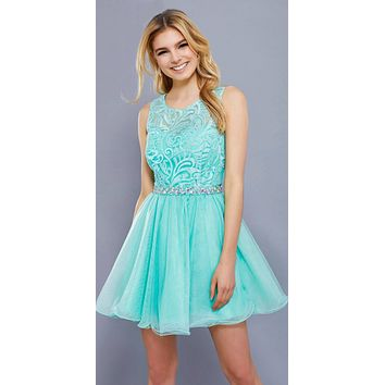 Cut Out Back Applique Bodice Sleeveless Homecoming Dress Mint