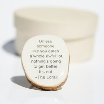 Cocktail Ring Lorax  wood jewelry Unique ring Chunky ring Dr Seuss Ring eco friendly eco fashion eco mothers day