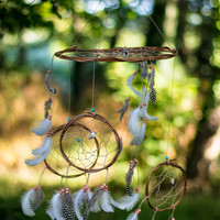 Dreamcatcher Mobile - Brown and White Boho Bohemian Baby Tribal Crib Nursery Baby Feathers Baby Boy Girl