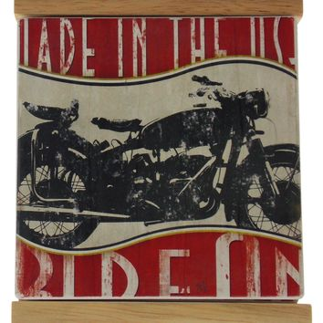Counter Art Ride On Motorcycle Square Stone Coasters Set 4 Wood Holder Made USA