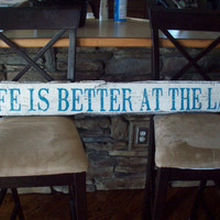 Life is Better at the Lake Sign Old barnwood by TheRavagedBarn