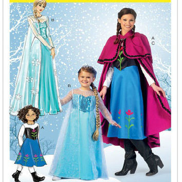 Miss Womens Frozen Anna Elsa Disney Princess Costume Pattern