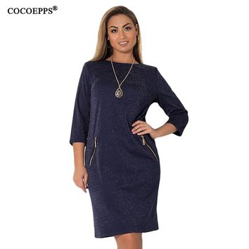 COCOEPPS 2018 Winter Christmas Dresses Fashion Casual Sequin Office Feamle Dress 5XL 6XL Plus Size Women Clothing Party Vestidos