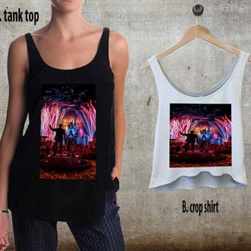 Disney World Castle Fireworks For Woman Tank Top , Man Tank Top / Crop Shirt, Sexy Shirt,Cropped Shirt,Crop Tshirt Women,Crop Shirt Women S, M, L, XL, 2XL**