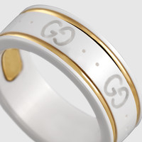 Gucci - icon ring in yellow gold and white zirconia powder 325964J85V58062