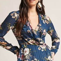 Sheer Floral Wrap Top