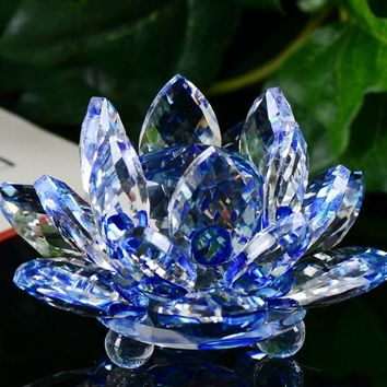 60mm Quartz Crystal Lotus Flower Crafts Glass Paperweight Fengshui Ornaments Figurines Home Wedding Party Decor Gifts Souvenir