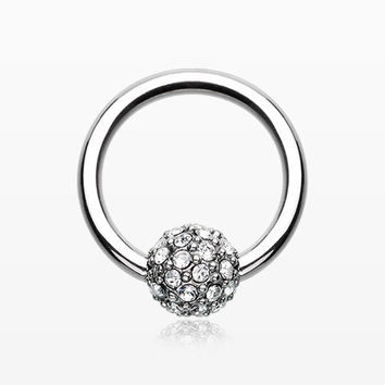 Pave Sparkle Full Dome Captive Bead Ring