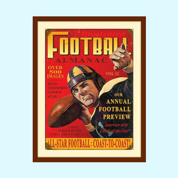 Football Decor, Teen Room Decor, Vintage Wall Art, Vintage Wall Decor, Vintage Football, Man Cave Sign, Historic Art, Football Decorations