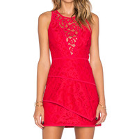 BCBGMAXAZRIA Hanah Lace Dress in Burnt Red