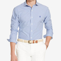 Polo Ralph Lauren Men's Printed Long Sleeve Poplin Shirt | macys.com