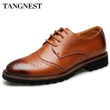 Tangnest Brand Men Oxfords Shoes Retro Cut-out Brogue Flats Cow Split Leather Lace Up Dress Shoes Man Size 37~44 Brown XMP659