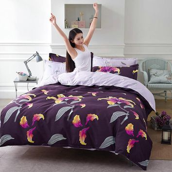Sale violet enchanting flowers Princess bedding sets Duvet covers set bed sheet pillowcase Twin full Queen King size bedclothes