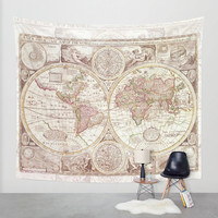 World Map Tapestry Wall hanging - antique map print, beautiful map, travel decor, wall decor atlas, den, bedroom, library