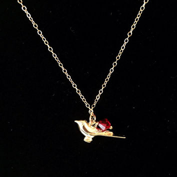 Gold filled Necklace, Necklace, Ruby, Red Swarovski Crystal, Bird, Gemstone, Pendant, Charm, Simple, Everyday, Casual, Bridesmaid Gift, Gift