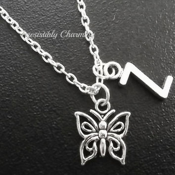 On sale.......Silver plated small cute butterfly necklace, monogram personalized custom gifts under 10 item No.719