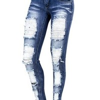 MEDIUM DENIM DESTROYED SKINNY JEAN