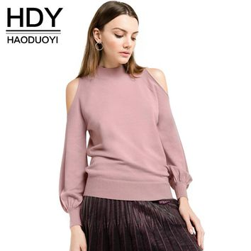 Women Casual Solid Pink Lantern Sleeve Pullovers Preppy Off-shoulder O-neck Autumn Sweater