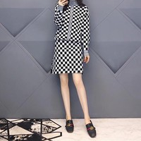 """Dior"" Women Elegant Temperament Multicolor Tartan Long Sleeve Lantern Sleeve High Waist Frills Fishtail Mini Dress"