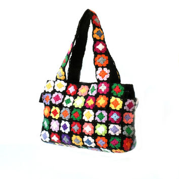 Hippie purse shoulder handbag, bohemian flowers bag, crochet bag, black multicolor flowers purse, fashion chic shoulder bag, boxy medium bag