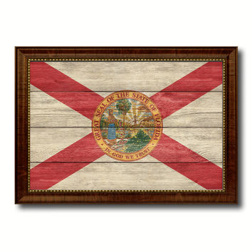 Florida State Flag Texture Canvas Print with Brown Picture Frame Gifts Home Decor Wall Art Collectible Decoration
