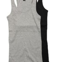 2 Pack Active Basic Women's Basic Ribbed Tank Tops Med Black, H Gray