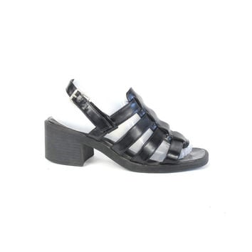 90s Chunky Heel Sandals Black Gladiator Sandals Cage Sandals Summer Strappy Sandals Grunge Goth Ankle Strap Chunky Heeled Sandals Size 8.5