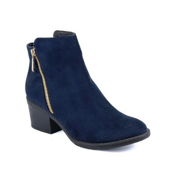 Reneeze PAMA-01 Womens Fashionable Stacked Heels Ankle Booties - NAVY-10