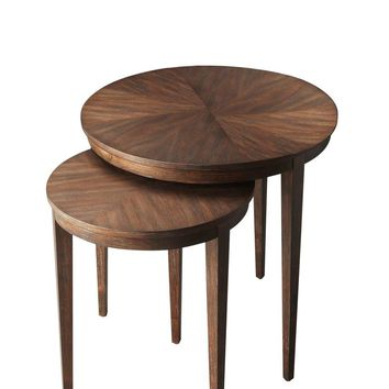 Transitional Round Nest Of Tables Dark Brown