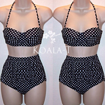 Retro Pin Up Black Polka Dots Halter Top & Tummy Control High Waist Bikini