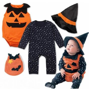 Children's Halloween Baby Boys Romper Autumn Winter Cotton Pumpkin Set With Hat Toddler Girls 3pcs Kids Costumes Infant Clothing