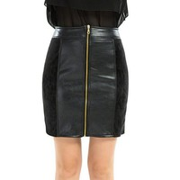 DCCKO03T Office lady patchwork pencil skirt women winter short skirts mini faux leather skirts black red PU skirts