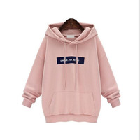 Echoine Autumn Plus Size Hoodies Women Long Sleeve Pullover Hoodie Sweatshirt Gray Pink Casual Hooded Outerwear Sudaderas Mujer