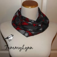 Girls Charcoal Gray Cardinal Flannel Infinity Scarf Christmas Red Birds Winter White Snowflakes and Branches Girl's Accessories