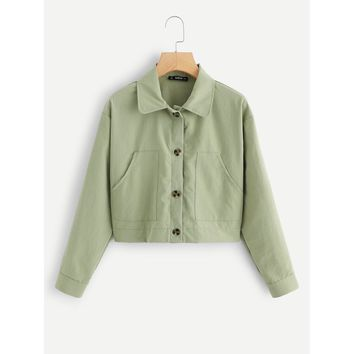 Pocket Patched Buttoned Crop Jacket