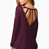 Dolman Strapped Tee - Plum