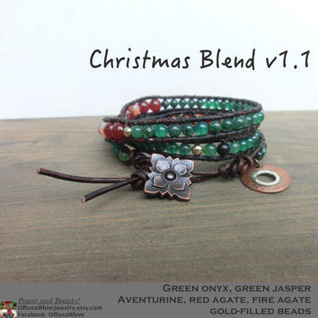 Christmas Blend Red and Green Layer Leather Wrap Japanese Powerstone Bracelet made in Japan by Off on a Whim - greens, red, orange, gold
