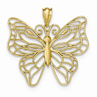 14 Yellow Gold Polished Large Butterfly Pendant