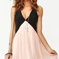 Pink Deep V-Neck Stitching Chiffon Dress