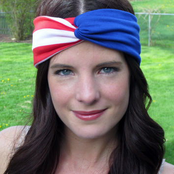 Fourth of July Headband, Patriotic Turban Headband, American Flag Headband, Americana, USA, Turband, Stretch Headband, Hippie Headband,