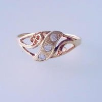 14k Solid Rose Gold Antique Deco Natural Diamond wedding band ring journey swirl