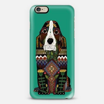 Basset Hound love jade green iPhone 6s case by Sharon Turner | Casetify