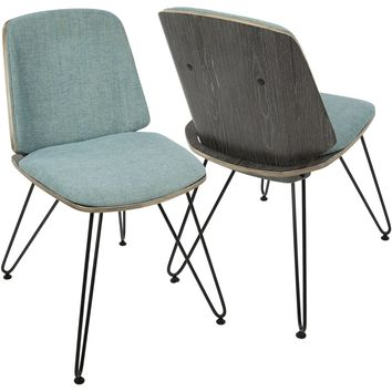 Avery Mid-Century Modern Accent/Dining Chairs, Dark Grey & Teal (Set of 2)