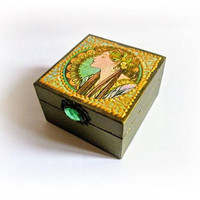 Alphonse Mucha Jewelry Box Ring Box Gift for Girlfriend Art Nouveau Trinket Box Maid of Honor Gift Bridesmaid Wood Decoupage Box Gold Box
