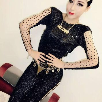 LMFUNT Sexy NEW Black Sequins Long Sleeves Jumpsuit Rhinestone Outfit For Women Female Singer DJ Dance Costume Party Performance Dress