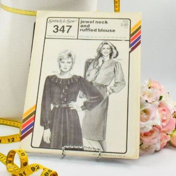 Jewel Neck and Ruffled Blouse  - Pattern 347  - Vintage Sewing Pattern  - Vintage Pattern  - Vintage Stretch & Sew Pattern  - 1980s