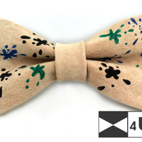 Leather Bow Tie Ivory Bowtie Real Suede Necktie Painted Fancy Special Wedding Bow Tie Groomsmen Bow Tie Man Men Lady Dickie Bow BowTie4You
